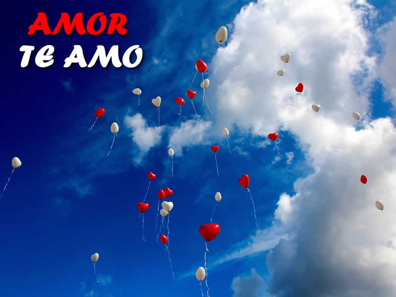 Foto de Amor te amo con globos de corazón rojos para compartir